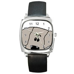 Peeping Weimaraner Square Metal Watch