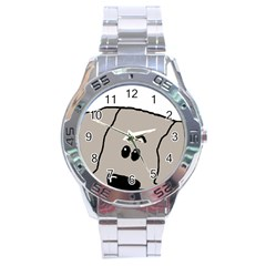 Peeping Weimaraner Stainless Steel Analogue Watch