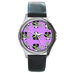 Panda Purple Bg Round Metal Watch