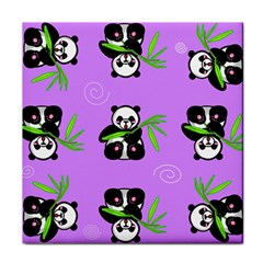 Panda Purple Bg Tile Coasters