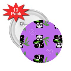 Panda Purple Bg 2.25  Buttons (10 pack)