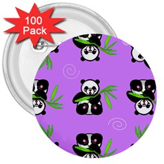 Panda Purple Bg 3  Buttons (100 pack)