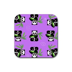 Panda Purple Bg Rubber Square Coaster (4 pack)