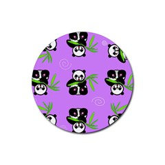 Panda Purple Bg Rubber Coaster (Round)