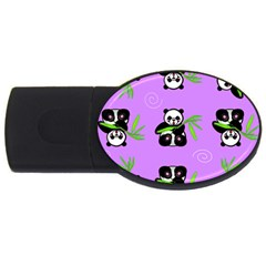 Panda Purple Bg USB Flash Drive Oval (2 GB)