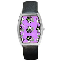 Panda Purple Bg Barrel Style Metal Watch