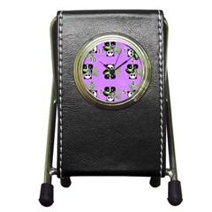 Panda Purple Bg Pen Holder Desk Clocks