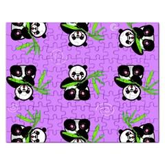 Panda Purple Bg Rectangular Jigsaw Puzzl