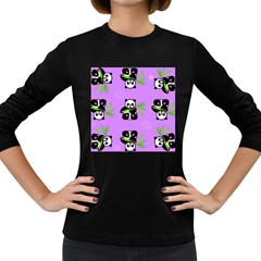 Panda Purple Bg Women s Long Sleeve Dark T-Shirts