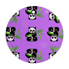 Panda Purple Bg Round Ornament (Two Sides)
