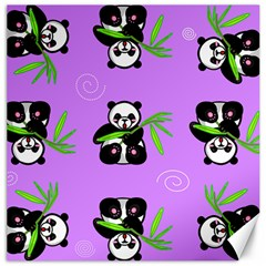 Panda Purple Bg Canvas 12  x 12