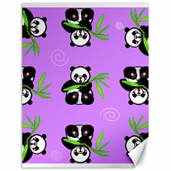 Panda Purple Bg Canvas 18  x 24