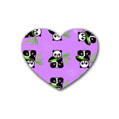Panda Purple Bg Rubber Coaster (Heart)