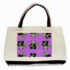 Panda Purple Bg Basic Tote Bag (Two Sides)