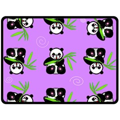 Panda Purple Bg Fleece Blanket (Large)