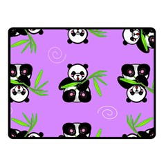 Panda Purple Bg Fleece Blanket (Small)