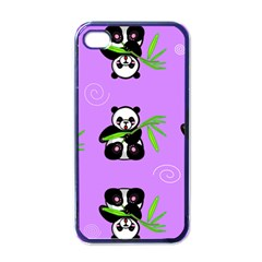 Panda Purple Bg Apple iPhone 4 Case (Black)