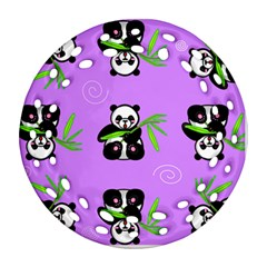 Panda Purple Bg Round Filigree Ornament (Two Sides)