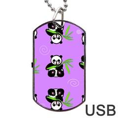 Panda Purple Bg Dog Tag USB Flash (One Side)
