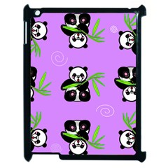 Panda Purple Bg Apple iPad 2 Case (Black)