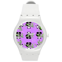 Panda Purple Bg Round Plastic Sport Watch (M)