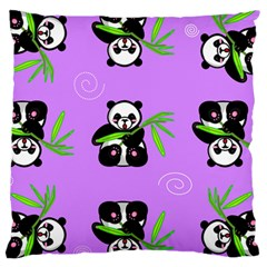 Panda Purple Bg Large Cushion Case (One Side)