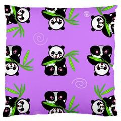 Panda Purple Bg Large Cushion Case (Two Sides)