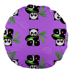 Panda Purple Bg Large 18  Premium Round Cushions