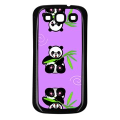 Panda Purple Bg Samsung Galaxy S3 Back Case (Black)