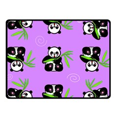 Panda Purple Bg Double Sided Fleece Blanket (Small)