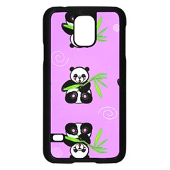 Panda Purple Bg Samsung Galaxy S5 Case (Black)