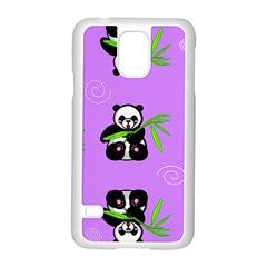 Panda Purple Bg Samsung Galaxy S5 Case (White)