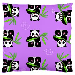 Panda Purple Bg Large Flano Cushion Case (One Side)