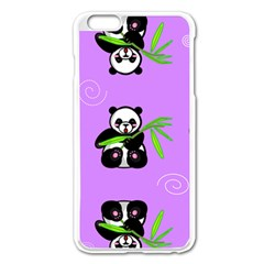 Panda Purple Bg Apple iPhone 6 Plus/6S Plus Enamel White Case