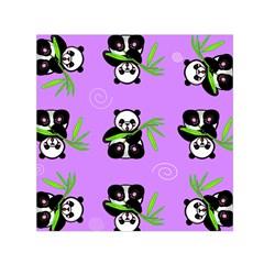 Panda Purple Bg Small Satin Scarf (Square)