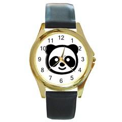 Panda Head Round Gold Metal Watch