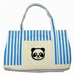 Panda Head Striped Blue Tote Bag