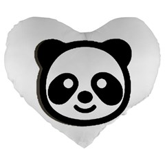 Panda Head Large 19  Premium Heart Shape Cushions