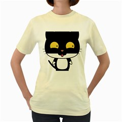 Panda Cat Women s Yellow T-Shirt