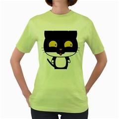 Panda Cat Women s Green T-Shirt