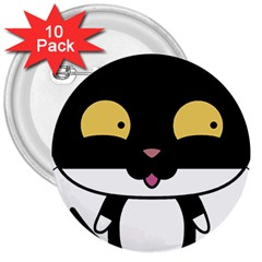Panda Cat 3  Buttons (10 pack)
