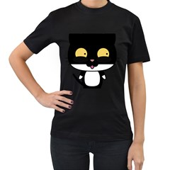 Panda Cat Women s T-Shirt (Black) (Two Sided)