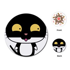 Panda Cat Playing Cards (Round)