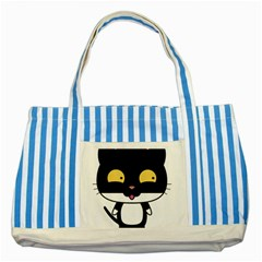 Panda Cat Striped Blue Tote Bag