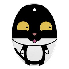 Panda Cat Oval Ornament (Two Sides)