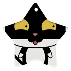 Panda Cat Star Ornament (Two Sides)