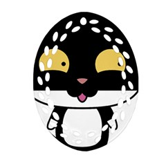 Panda Cat Oval Filigree Ornament (Two Sides)