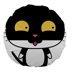 Panda Cat Large 18  Premium Round Cushions