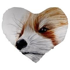Panda Art Large 19  Premium Heart Shape Cushions