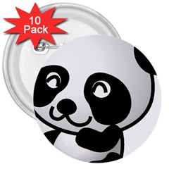 Adorable Panda 3  Buttons (10 pack)